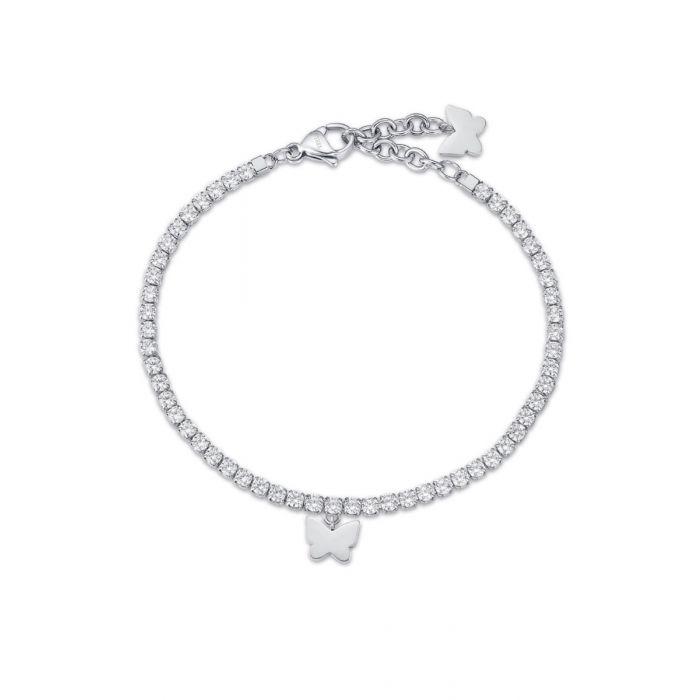 Bracciale donna Luca Barra con farfalla e cristalli bianchi