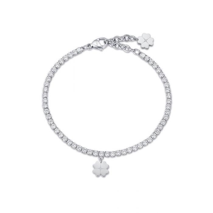 Bracciale donna Luca Barra con quadrifoglio e cristalli bianchi