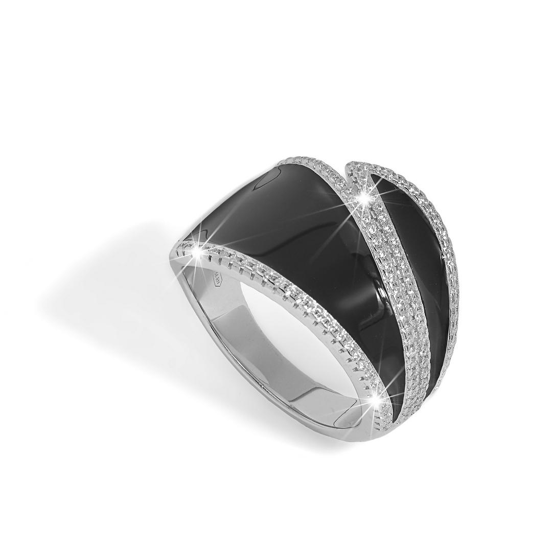 BROCCHI, anello fascia argento e zirconi