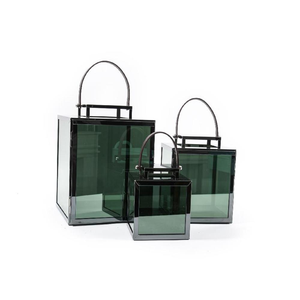 Set 3 Lanterne Mirror Cubiche in Acciaio Nero