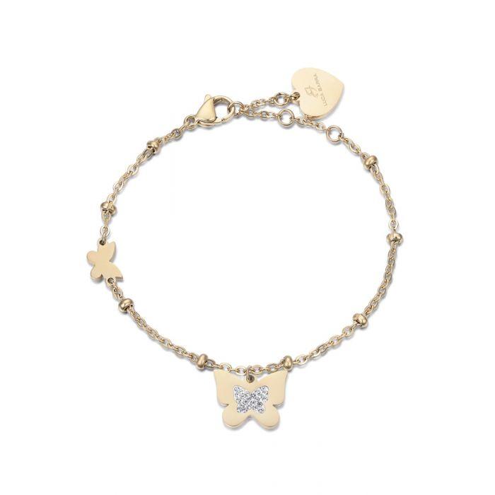 Luca Barra - Bracciale in acciaio dorato con farfalla e cristalli bianchi