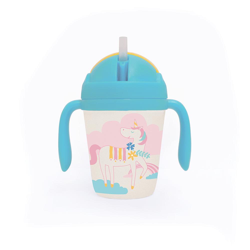 Penny Scalan Design - bicchiere in bamboo con cannuccia - Unicorno (menta/giallo)