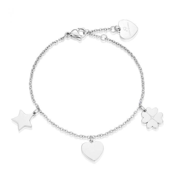 Luca Barra - Bracciale in acciaio con stella, cuore e quadrifoglio