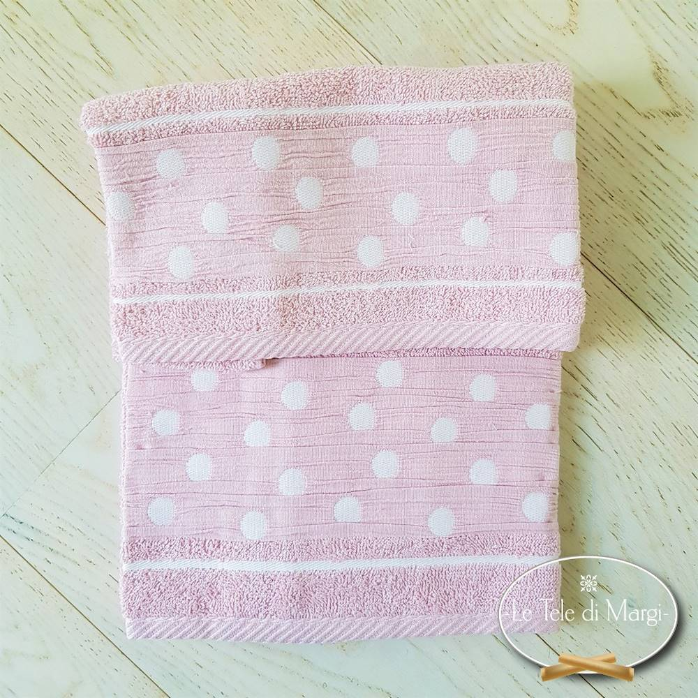 Coppia asciugamani Pois Rosa