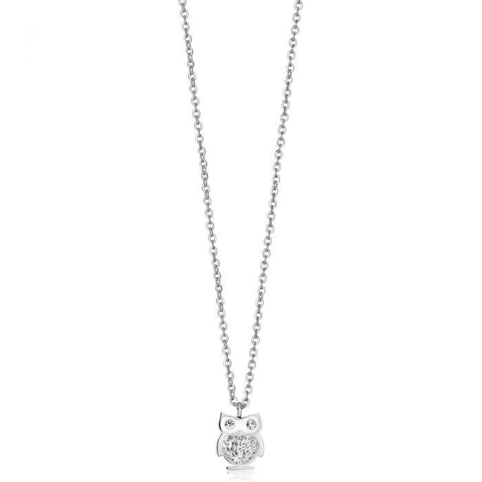 Luca Barra - Bracciale in acciaio con gufo e cristalli bianchi