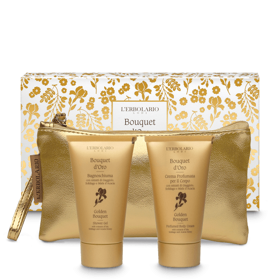 Bouquet d'Oro Beauty: Bagnoschiuma da 75 ml Crema Profumata per il Corpo da 75 ml Ed.Lim 1 pz