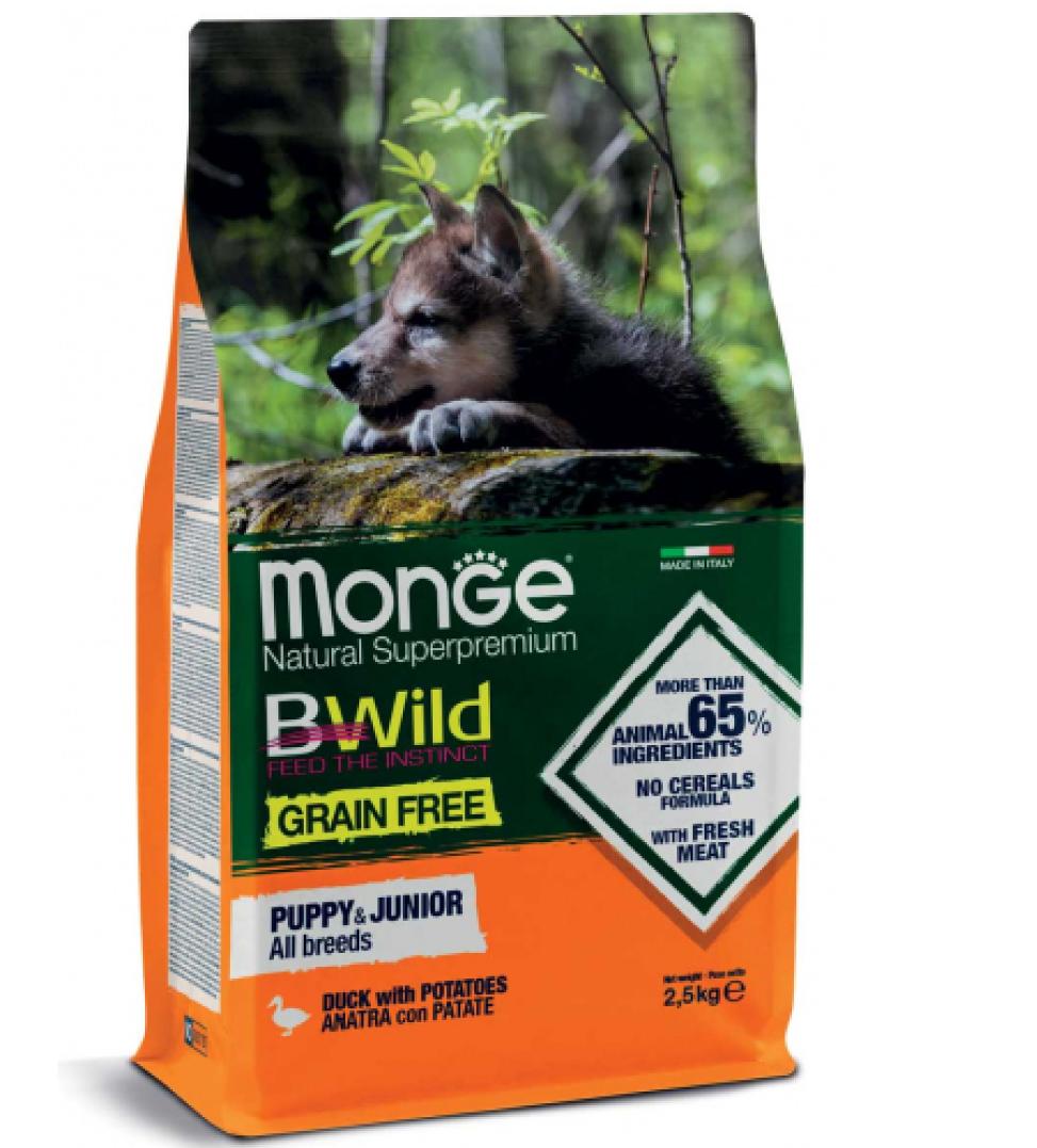Monge - BWild Grain Free - All Breeds Puppy&Junior - Anatra 12 kg x 2 sacchi