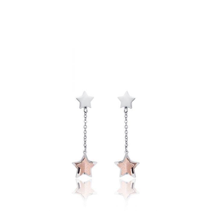 Luca Barra - Orecchini in acciaio con stelle e glitter rosè