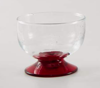 Glass blown Ice cream cup Transparent Red (6pcs)