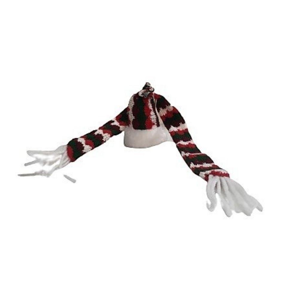 Sciarpa e cappello per decorare una bottiglia a Natale