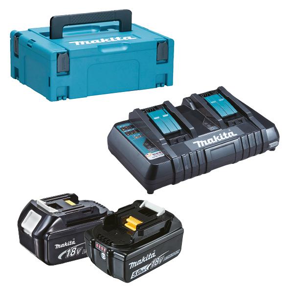 197629-2 MAKITA KIT ENERGY 2x 18V 5Ah + caricabatterie DOPPIO rapido