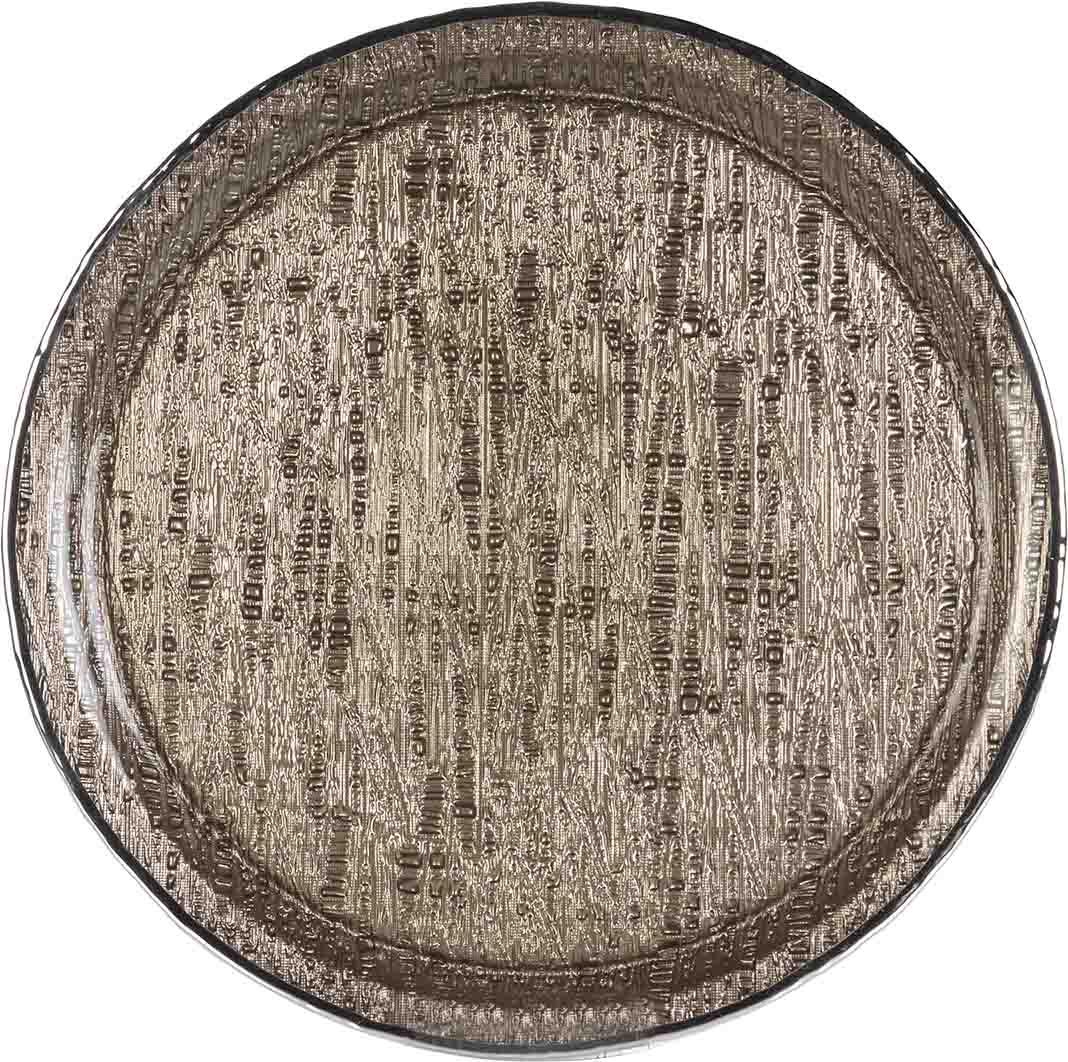 vassoio in cristallo argento infinity 35cm tabacco