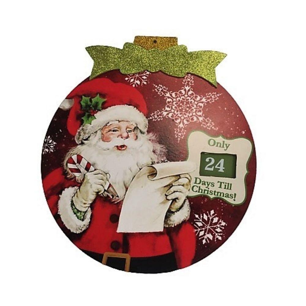 Quadro calendario dell'avvento Babbo Natale in legno