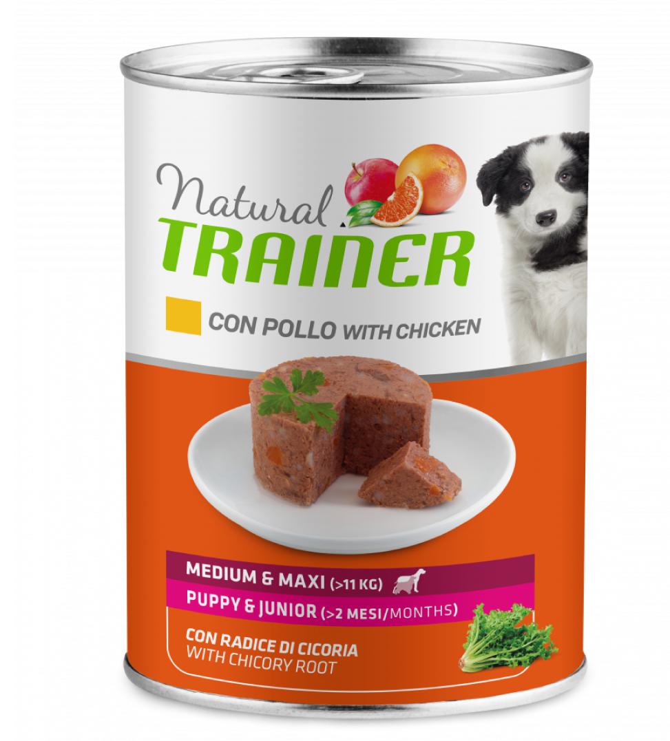 Trainer Natural - Medium\Maxi - Puppy&Junior - Pollo - 400g x 12 lattine