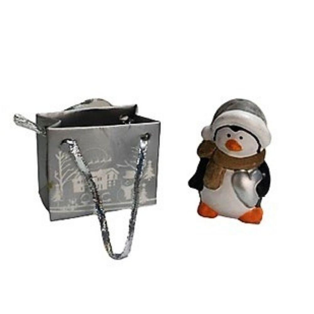 Pinguino Natale segnaposto in miniatura con sacchetto