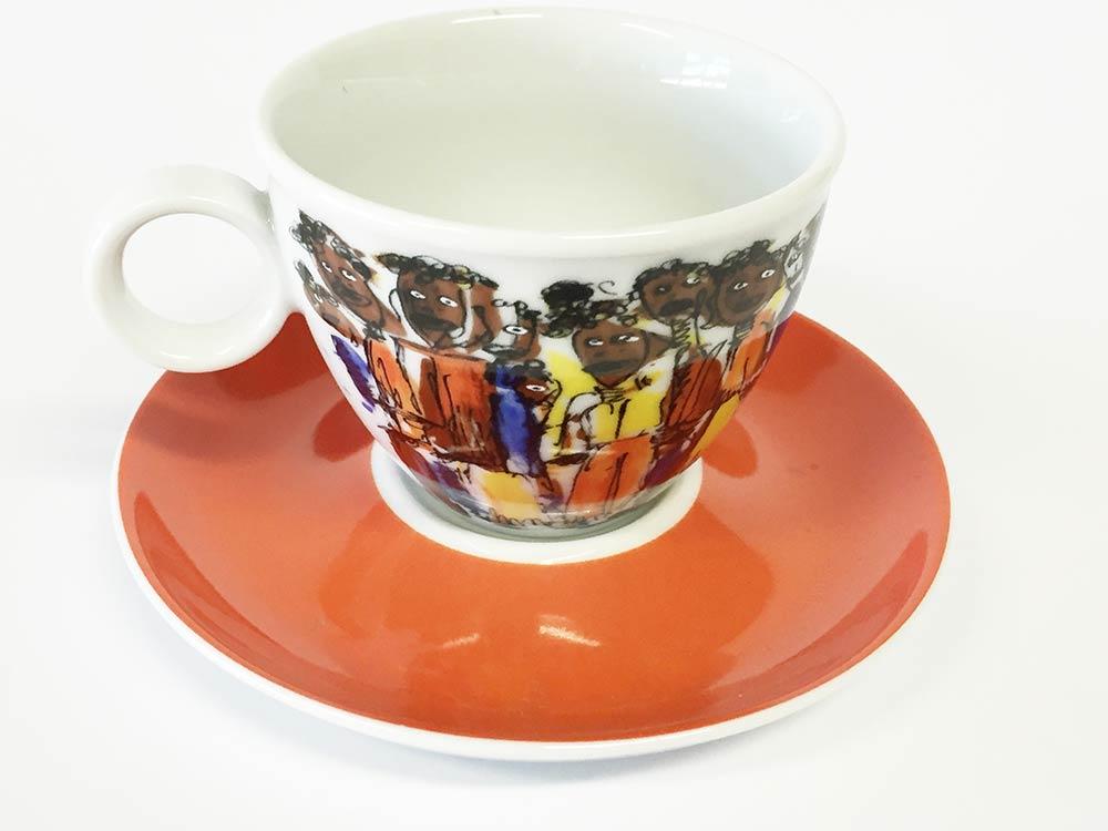 Tassen Unterteller cappucino African People (6stck)