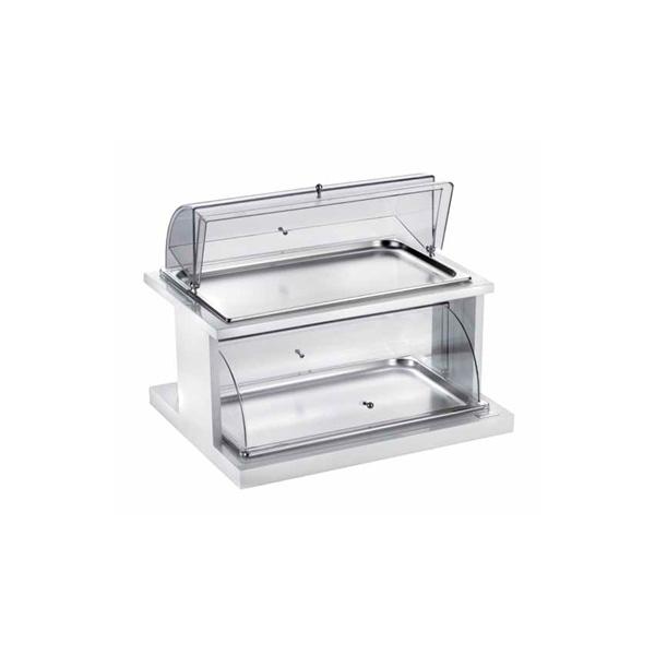 2 Etagen-Etagere mit rechteckigen Tabletts für Backwaren mit doppelter Haube (1stck)