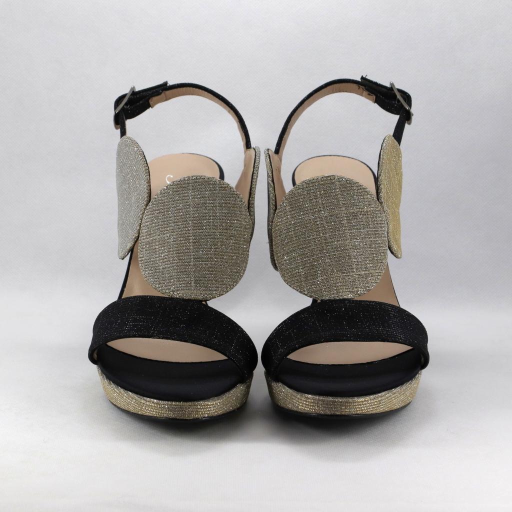 Sandalo cerimonia donna oro/nero