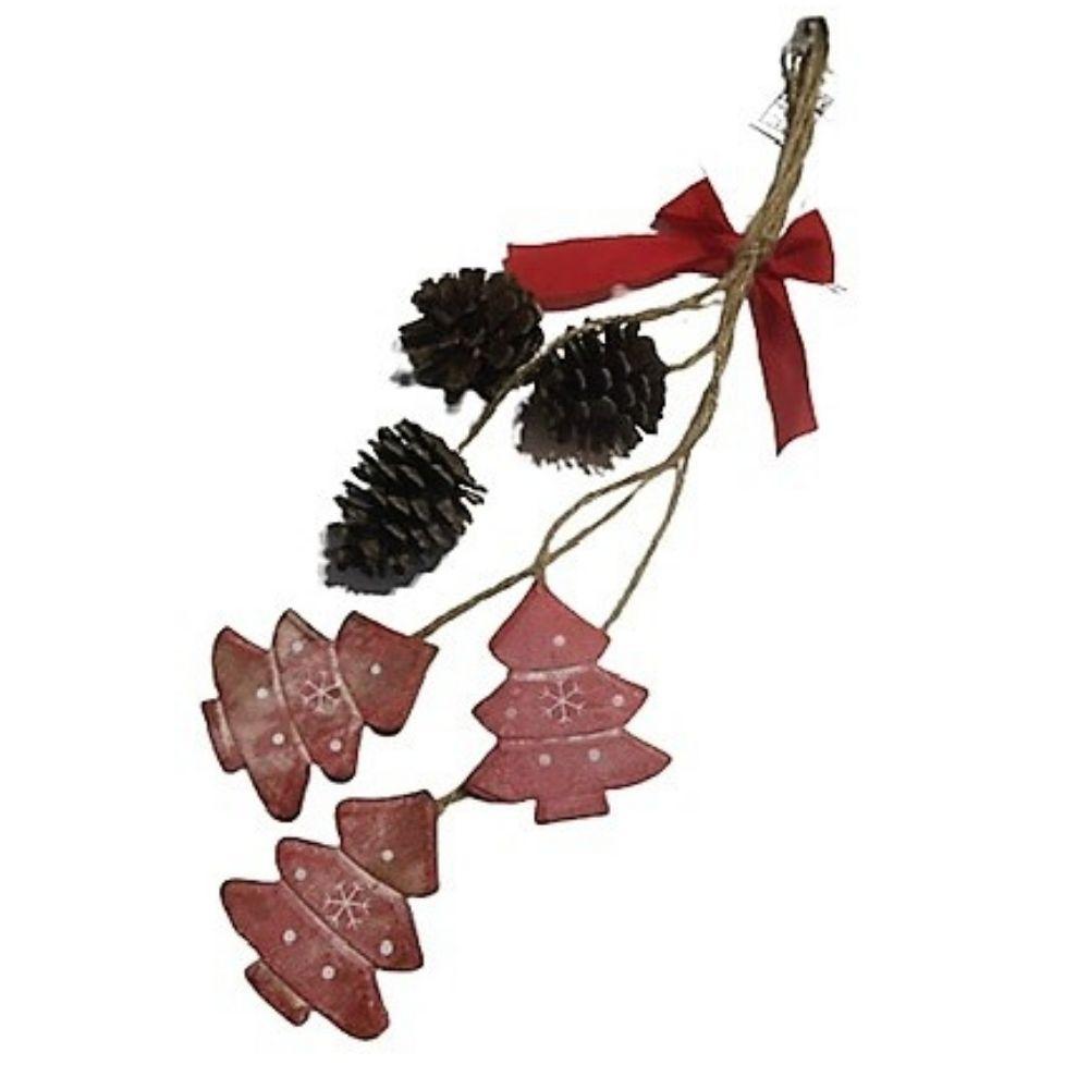 Decorazione natalizia con pigne e alberelli in legno