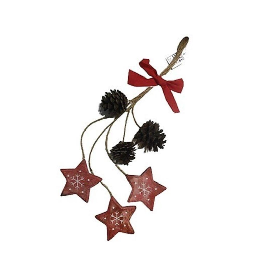 Decorazione natalizia con pigne e stelle in legno