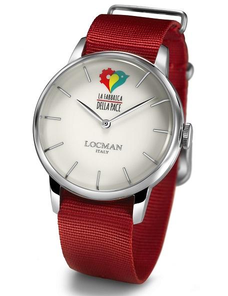 Locman Orologio Fabbrica della pace, cinturino Nylon rosso
