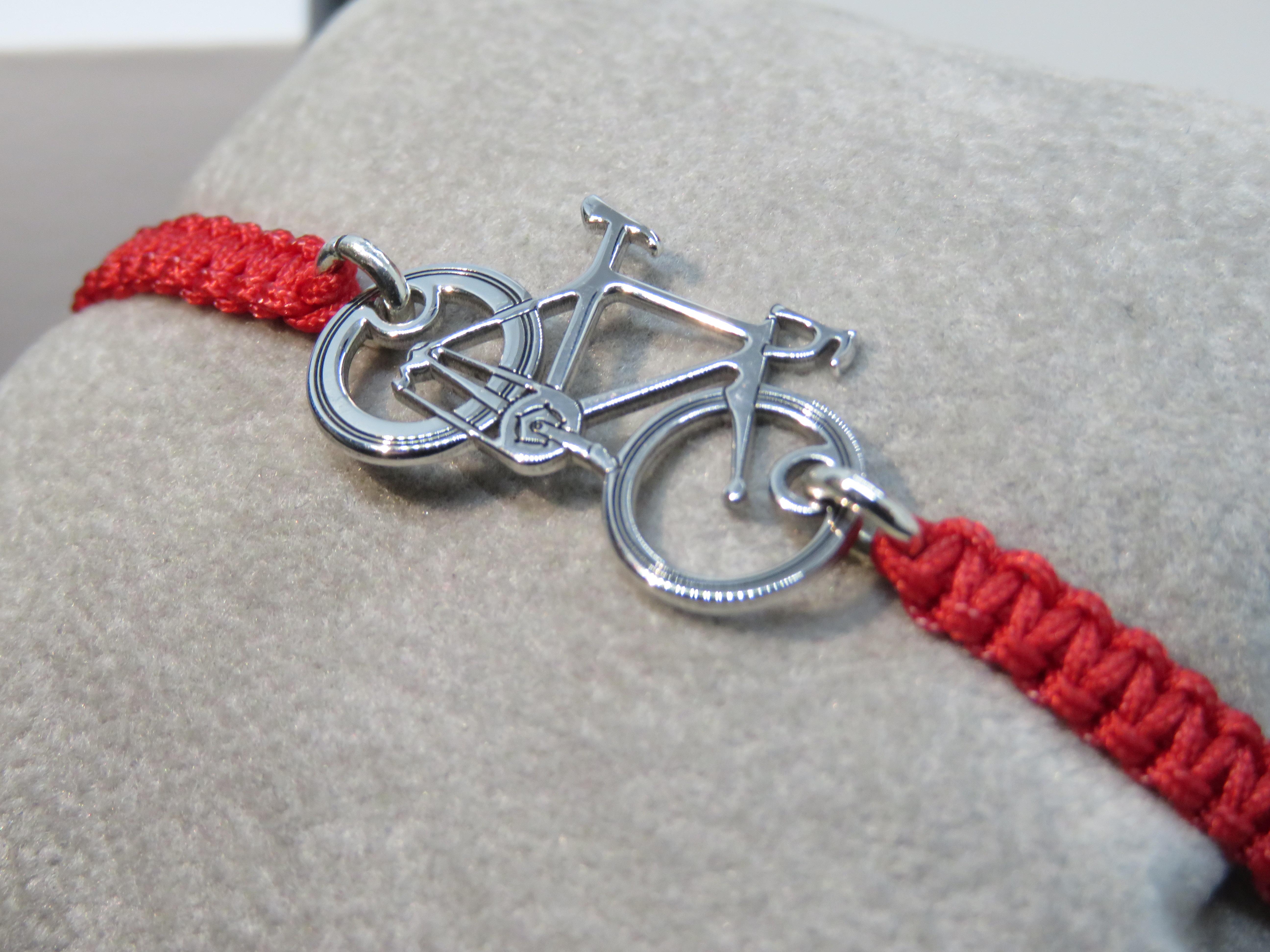 Bracciale tessuto intrecciato con elemento Bicicletta corsa