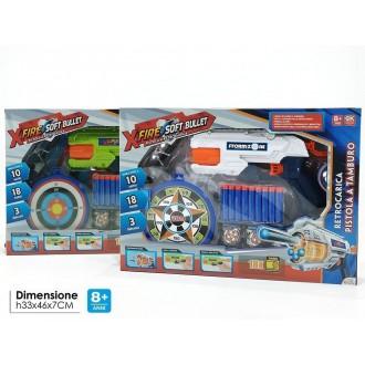 General Trade Pistola X-Fire Soft Bullet Bianco e Blu Giocattolo Bambini con Bersaglio