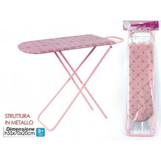 General Trade Stirella Asse Da Stiro Rosa Decorato per Bambine Struttura in Metallo