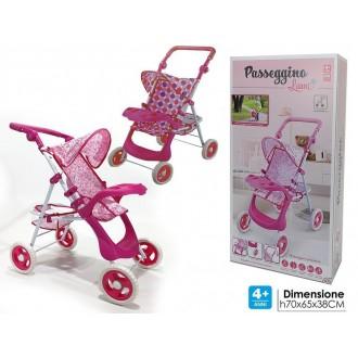 General Trade Passeggino Laura 4+ Anni Passeggino per Bambolotto Rosa Decorato Con Struttura In Ferro