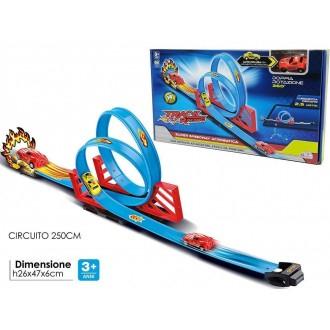 General Trade Track Racing Pista per Macchinine Azzurra con Dettaglio e Curve Circuito di 250m