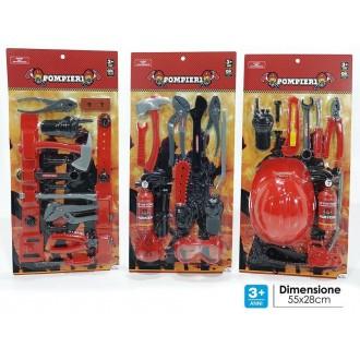 General Trade Set Pompieri Antincendio Rosso e Nero Accessori Per Spegnere un Incendio Pompiere