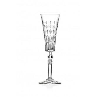 Rcr Marilyn Confezione di 6 Calici Flut Per Prosecco e Champagne Decorati Eleganti Cristalleria Italiana