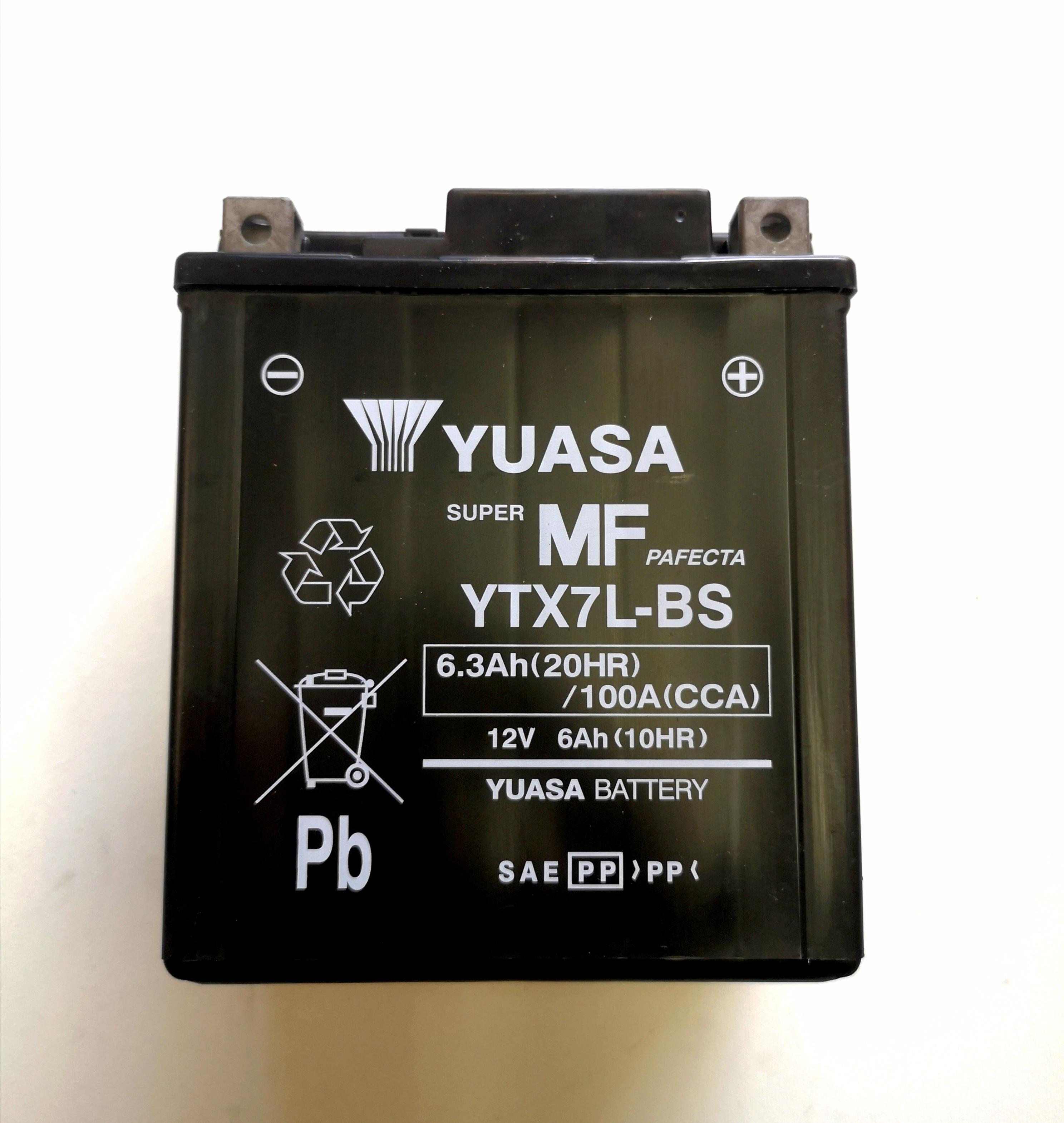 BATTERIA YUASA YTX7L-BS SIGILLATA con ACIDO a CORREDO