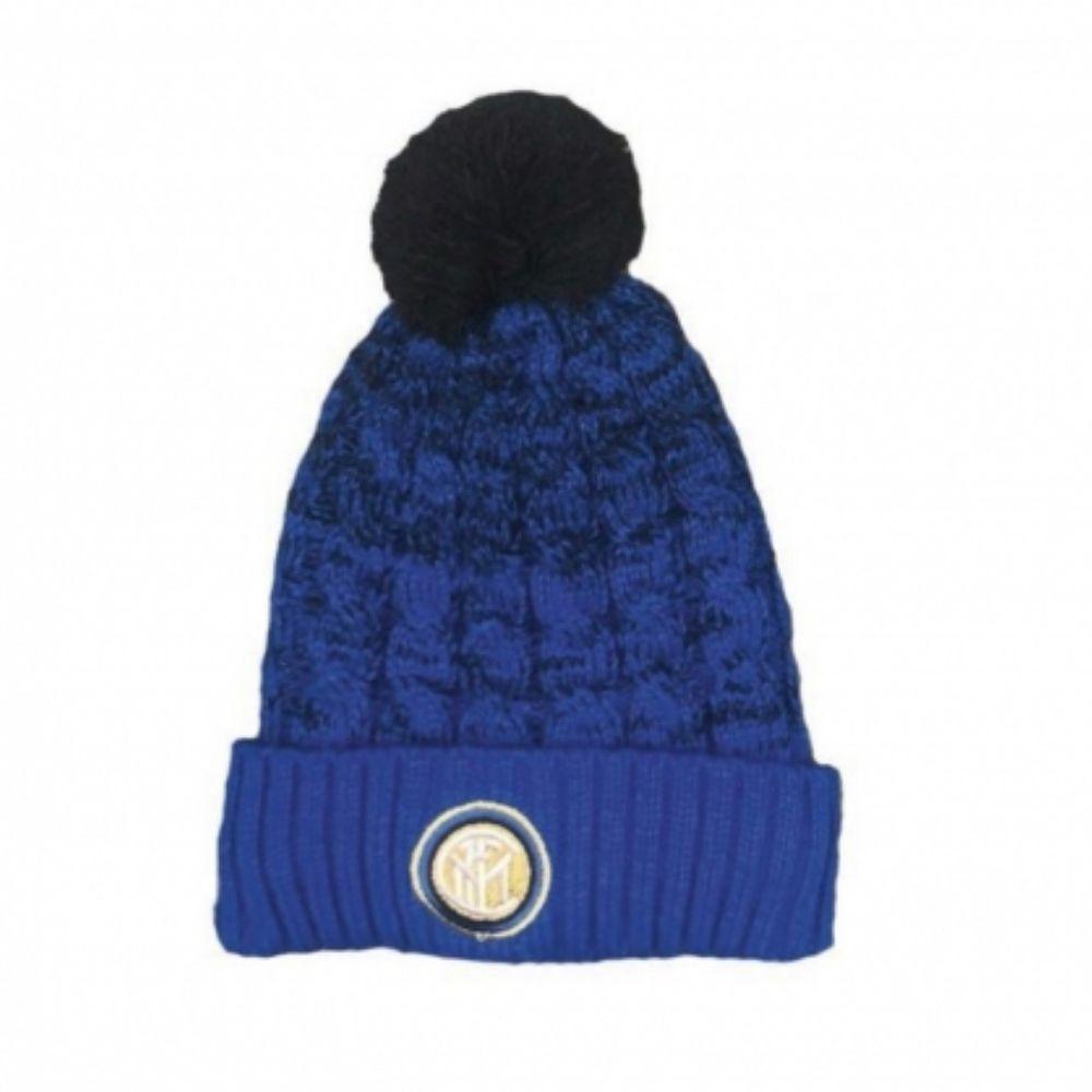 Cappello Inter invernale pon pon azzurro nero