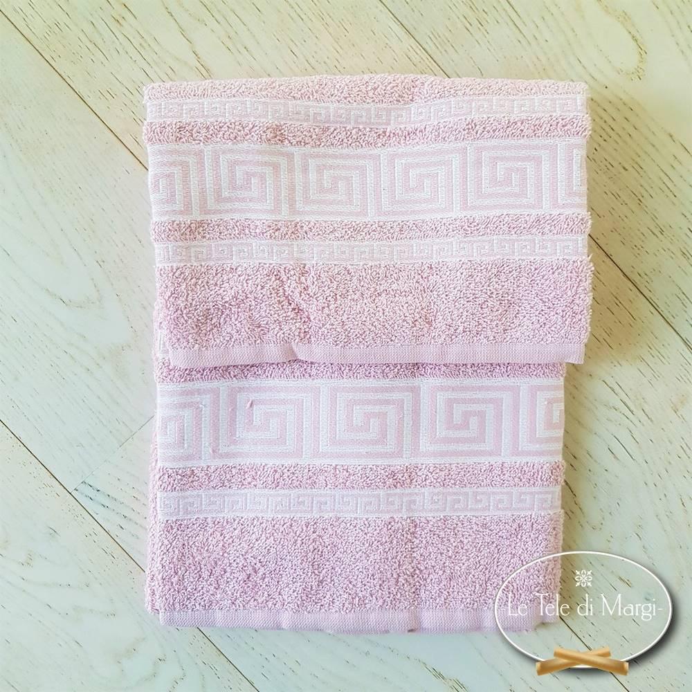 Asciugamani Greca rosa