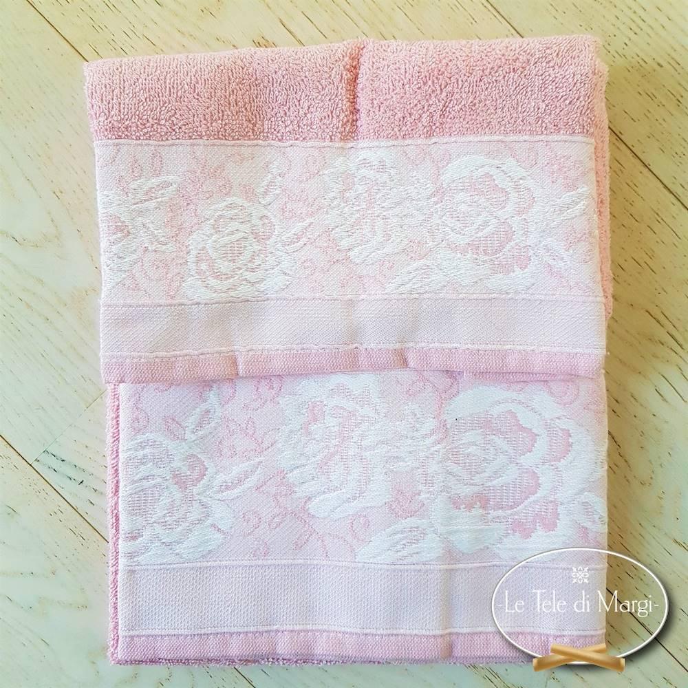 Asciugamani jacquard Rose rosa