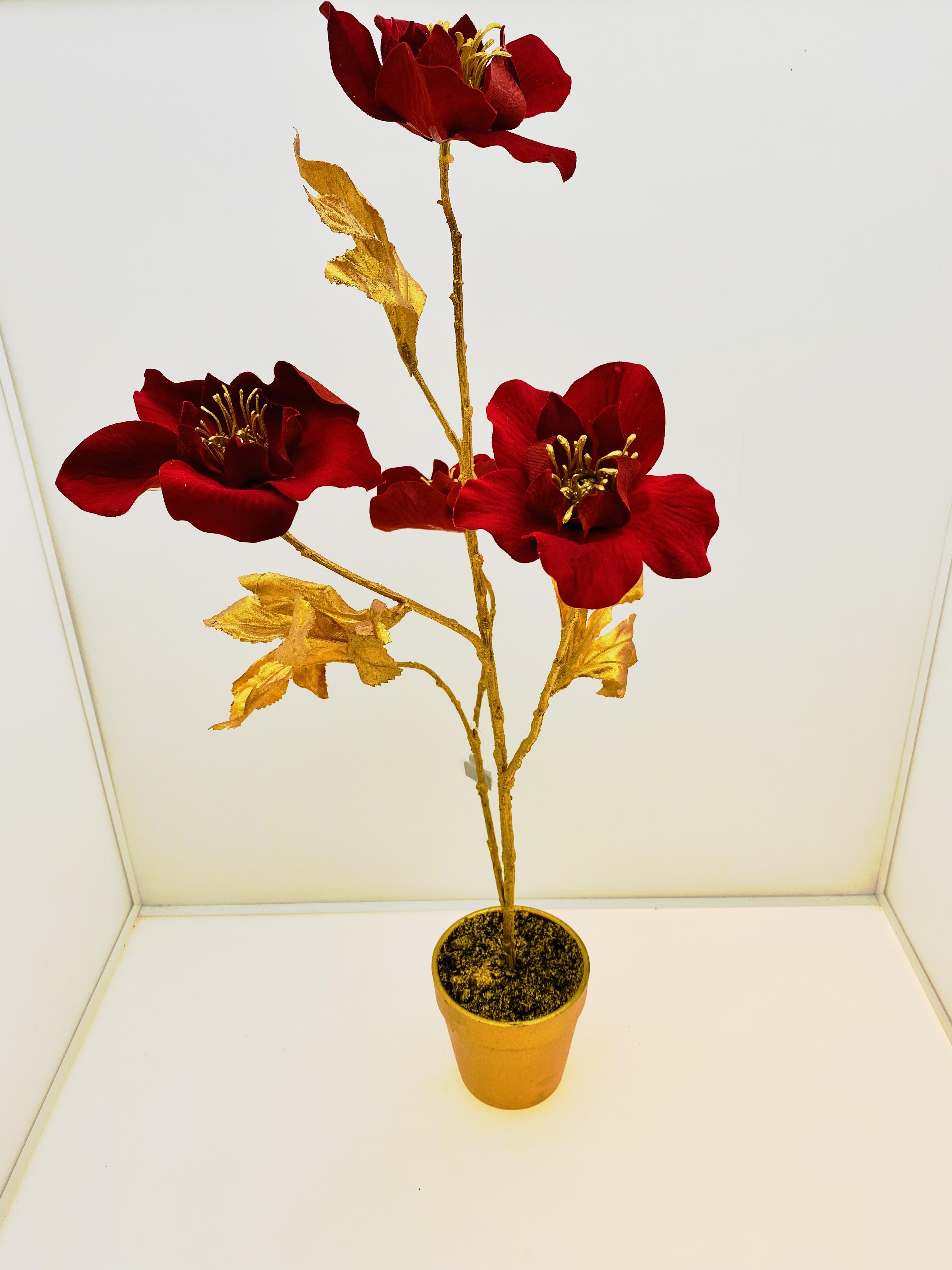 Elleboro con fiori in  velluto