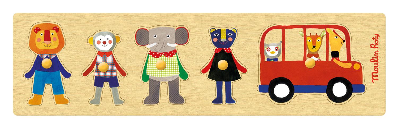 Puzzle semplifice personaggi in legno e autobus