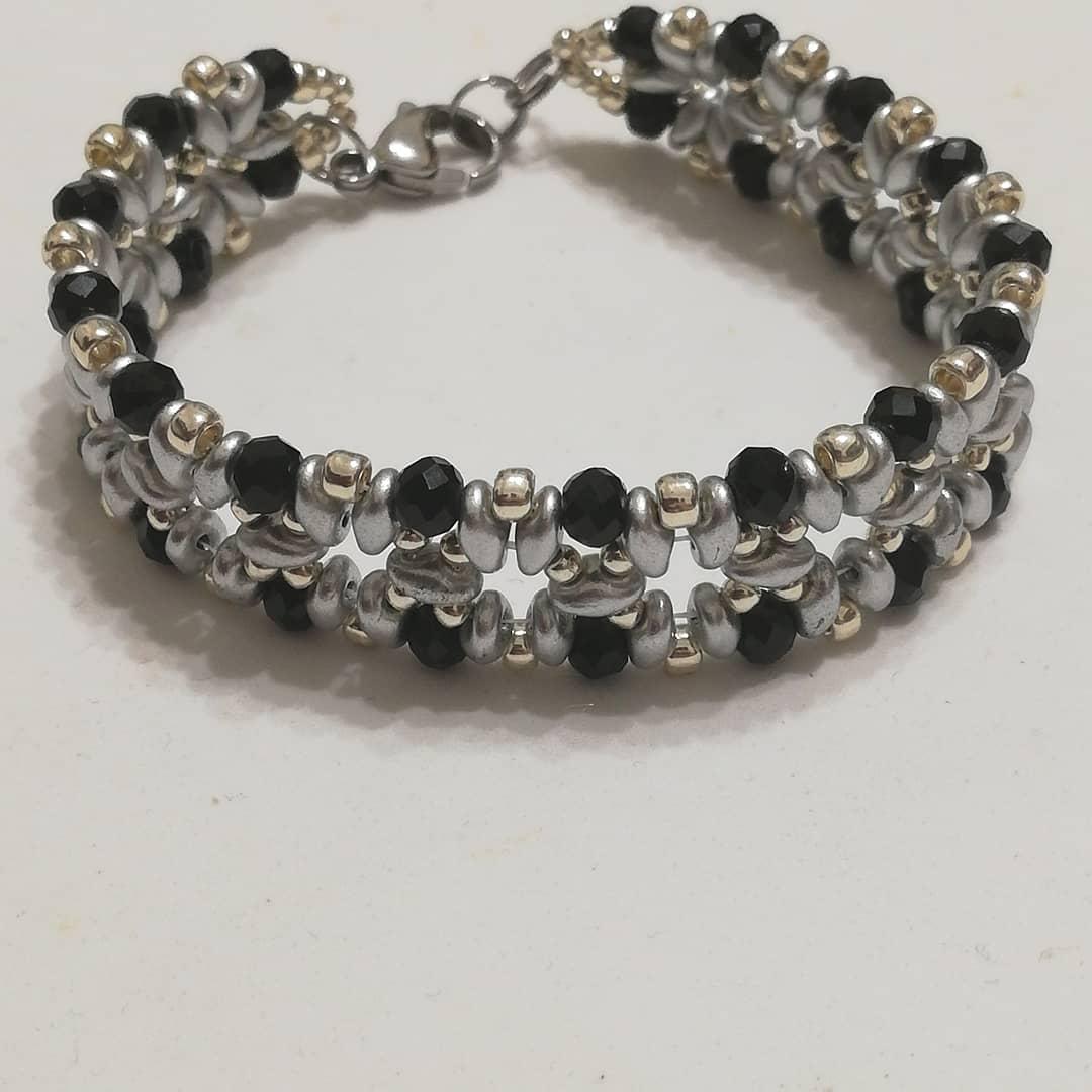 Bracciale donna con cristalli neri | Bigiotteria artigianale handmade