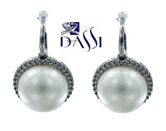 Orecchini con perle bianche in oro bianco 18kt, a monachella