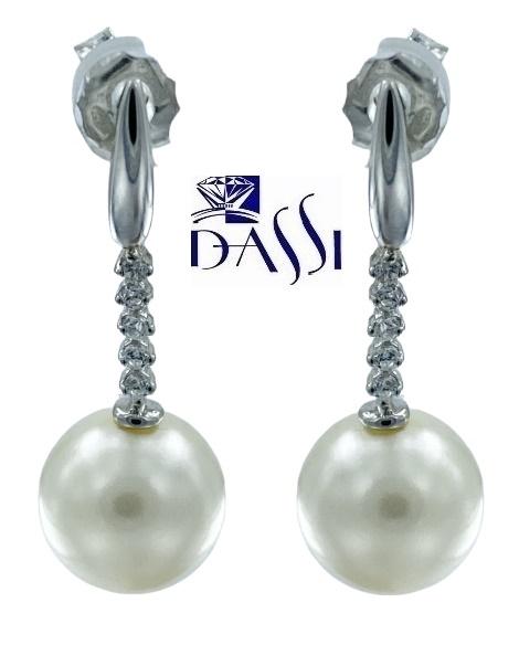 Orecchini pendenti con perla bianca e zirconi in oro bianco 18kt