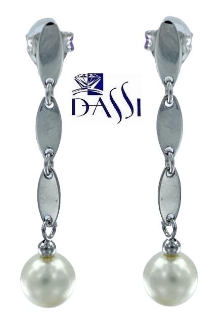 Orecchini pendenti con perla bianca in oro bianco 18kt