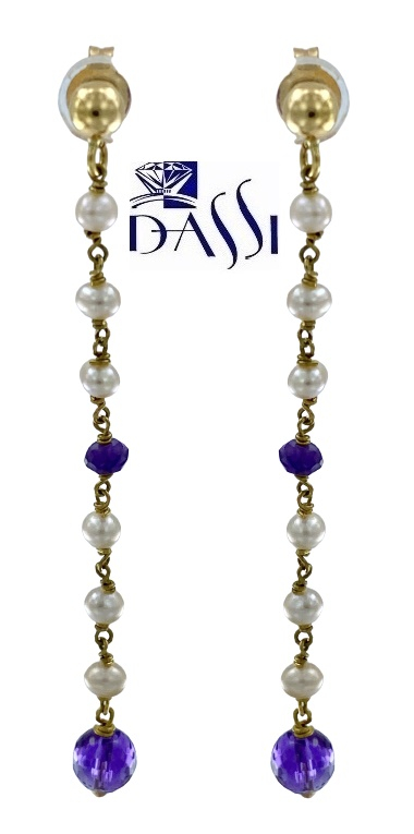 Orecchini a rosario pendenti in oro giallo 18kt con perle e ametista