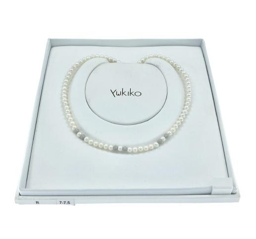 Filo perle Yukiko in oro bianco 18kt e perle intercalate a 6 sfere in oro bianco