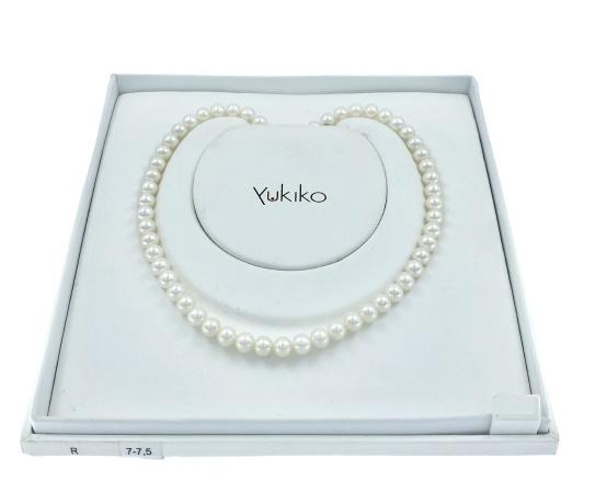 Filo perle Yukiko in oro bianco 18kt e perle bianche