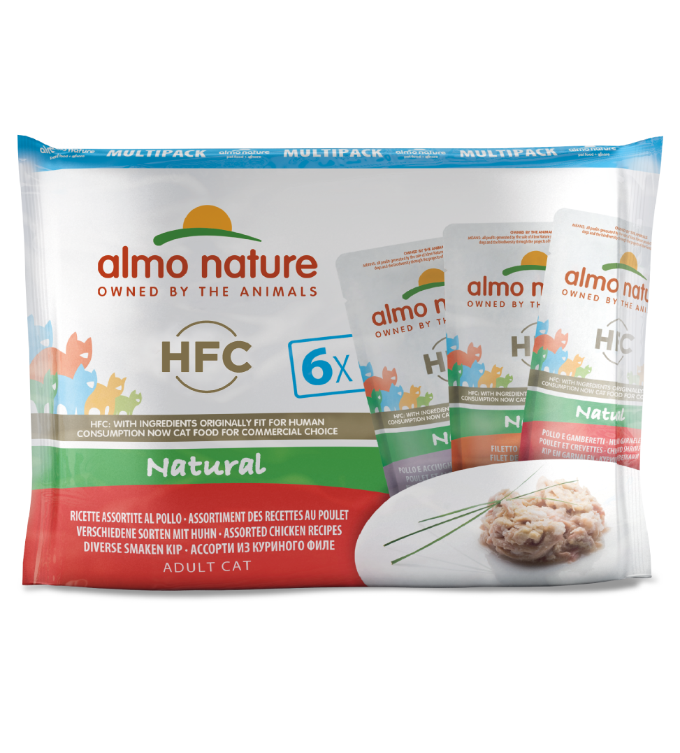 Almo Nature - HFC Cat - Multipack - Natural - Pollo - 3 x 6 buste 55g