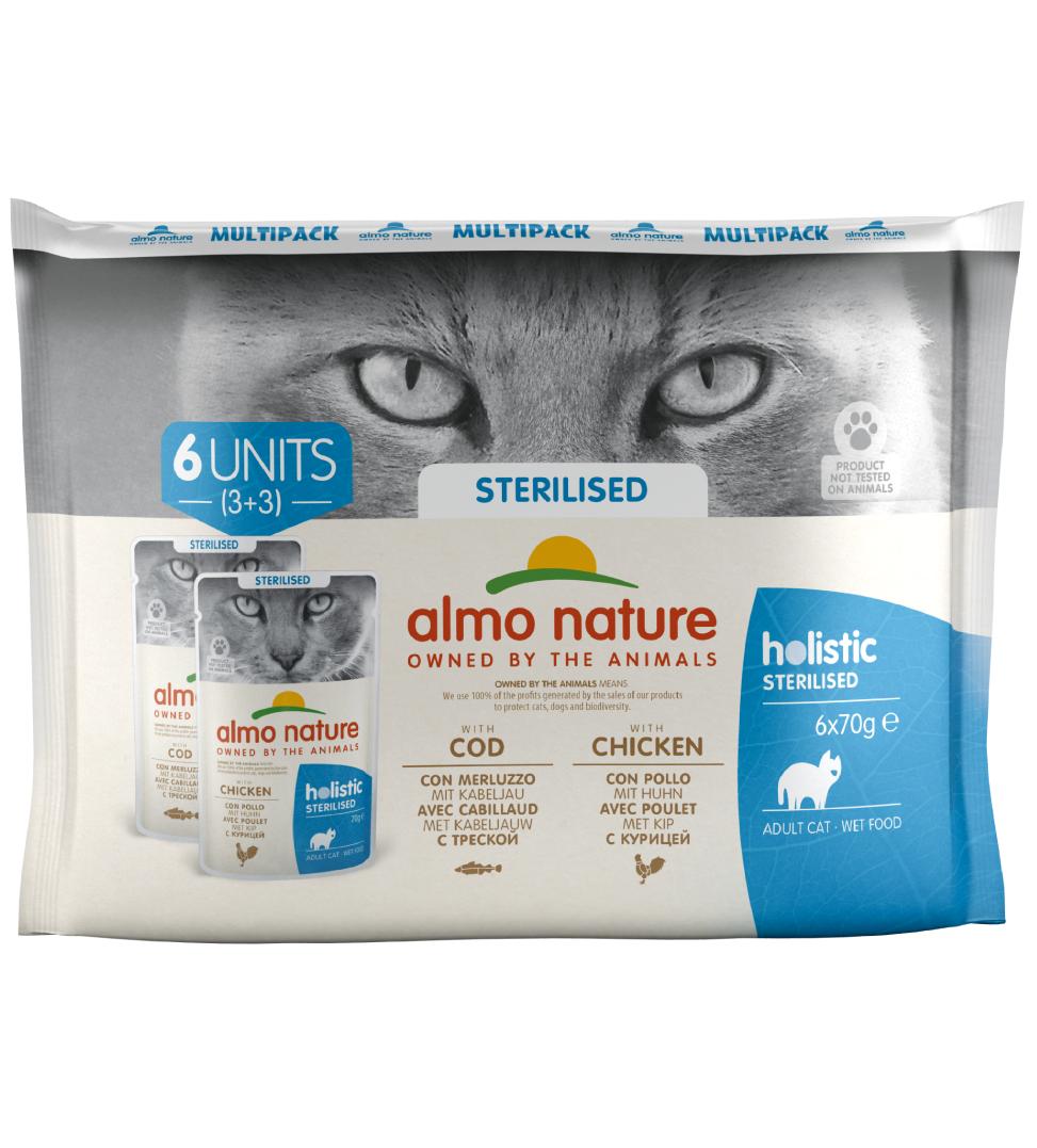 Almo Nature - Holistic Cat Functional - Multipack - Sterilised con Merluzzo e Pollo - 6 x 6 buste 70g