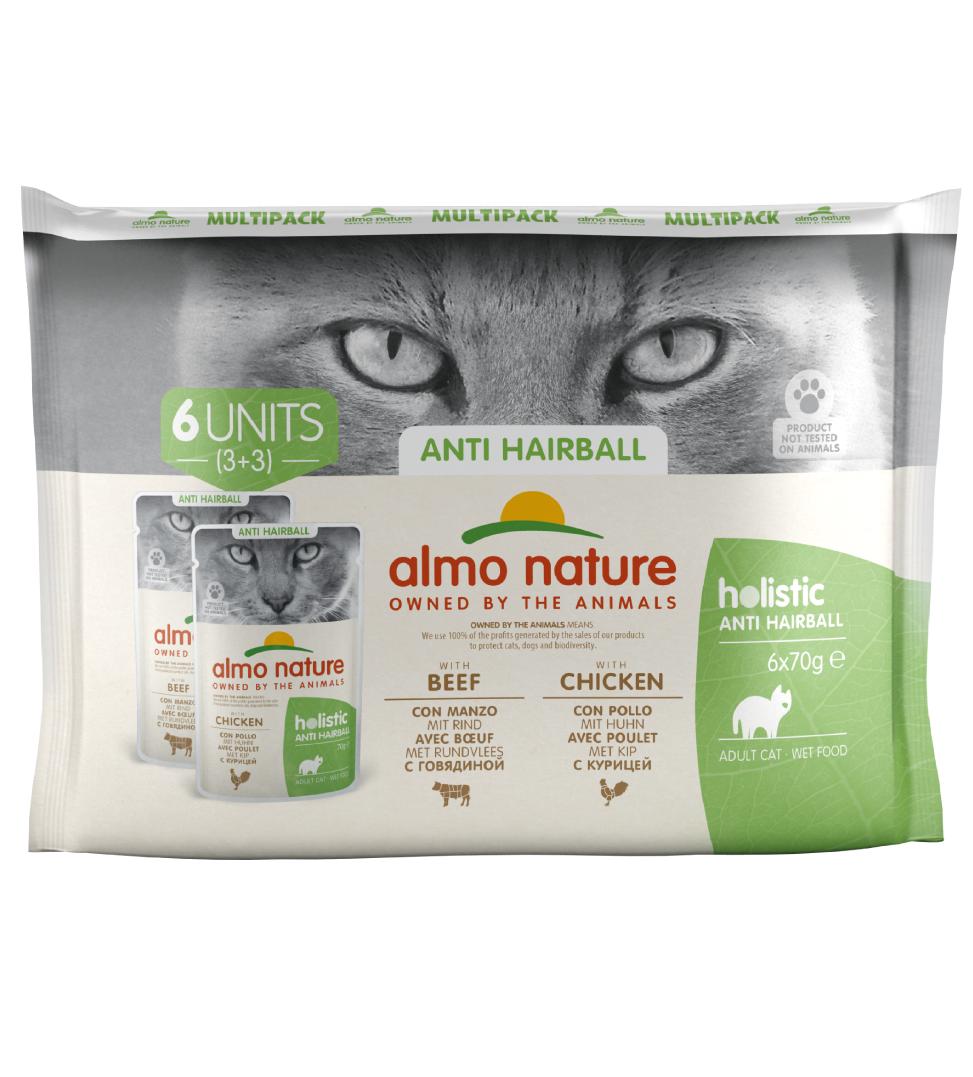 Almo Nature - Holistic Cat Functional - Multipack - Anti-Hairball con Manzo e Pollo - 6 x 6 buste 70g