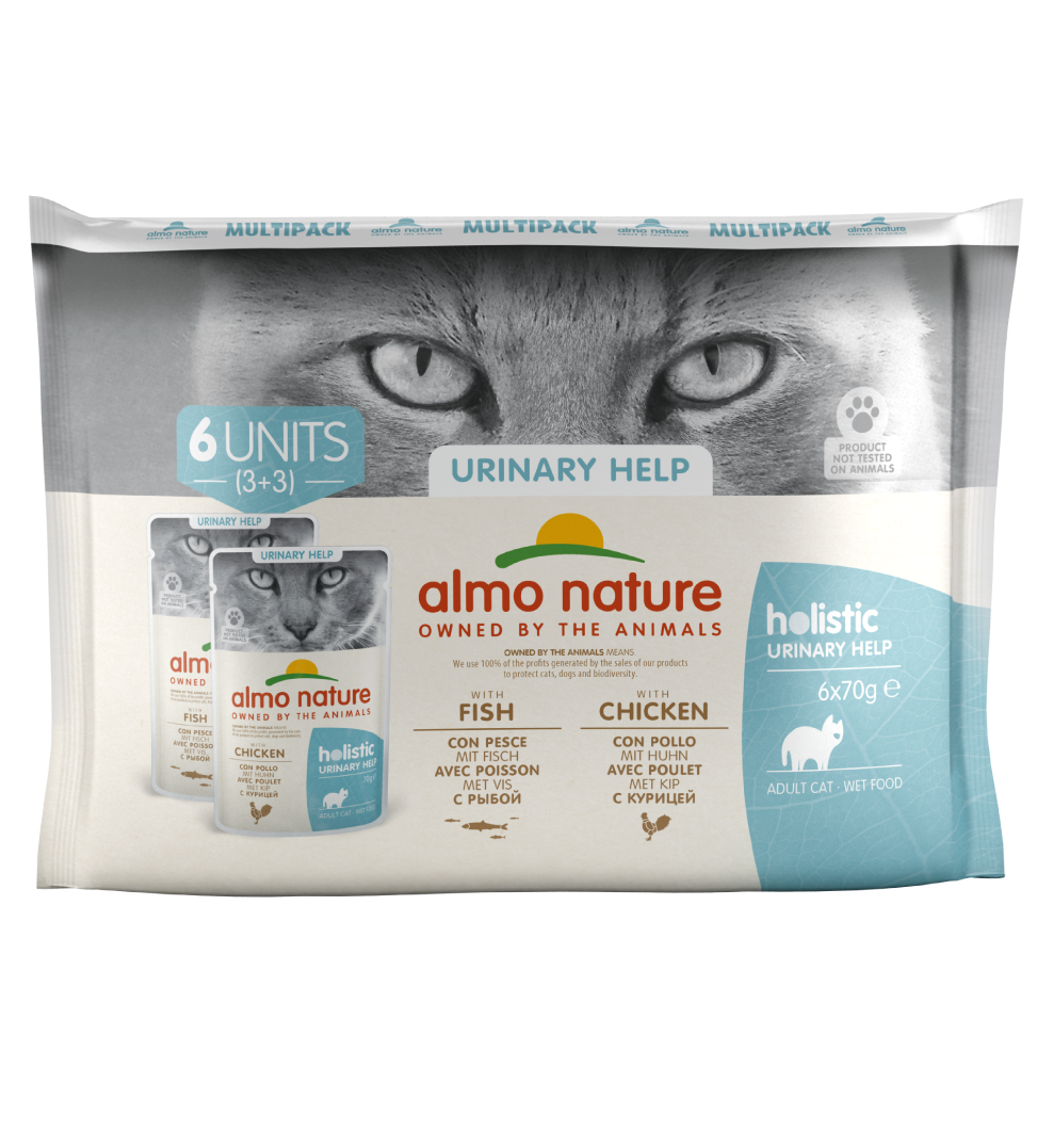 Almo Nature - Holistic Cat Functional - Multipack - Urinary Support con Pesce e Pollo - 3 x 6 buste 70g