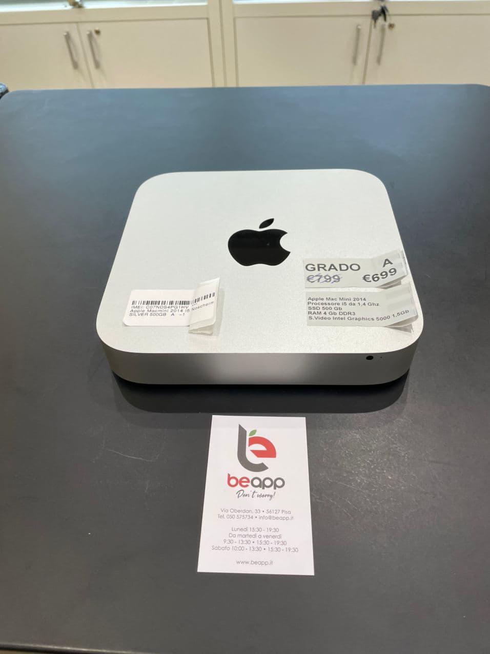Apple Mac Mini 2014 - intel® i5 Noschermo - RAM 4GB 1500mb - (Ricondizionato)